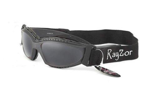 Rayzor Profesional UV400 GunMetal gris 2 En 1 Ciclismo - MTB Gafas de sol / Gafas, con un anti niebla trata el ahumado antideslumbrante claridad del objetivo y desmontable con elástico diadema y interior acolchado de espuma