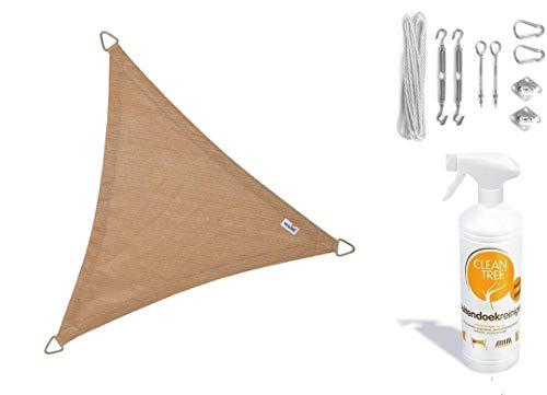 Nesling Compleet Pakket Coolfit Sonnensegel, wasserfest, dreieckig, 3,6 x 3,6 x 3,6 cm, Marraine, Sand setzt RVS Bevestigsset aus Buitendoekreiniger  