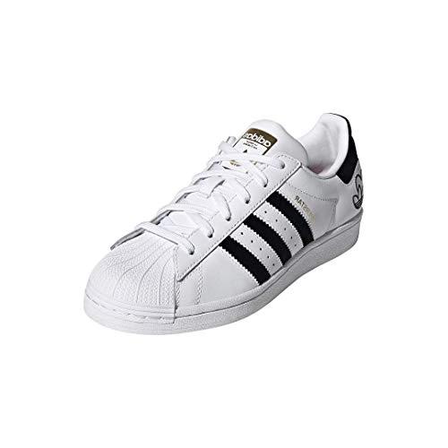 adidas Originals Women's Superstar Shoes Sneaker, Tonal White/Black/Gold Metallic, 9.5