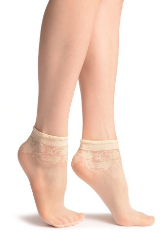 LissKiss Cream With Wine Leaves Socks Ankle High - Beige Socken Einheitsgroesse (37-42)