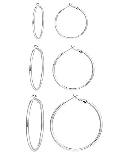 3 Pairs Silver Hoop Earrings- 14k White Gold Plated 925 Sterling Silver Hoop Earrings for Women Girls Gifts Valentine's Day Gifts(40mm 50mm 60mm)