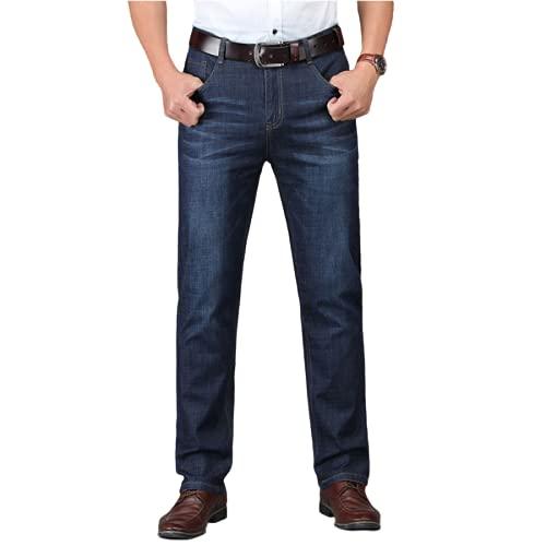 Pantalones Vaqueros de Corte Regular clásico para Hombre Pantalones de Mezclilla de Negocios Informales elásticos cómodos Rectos Sueltos con Bolsillos 40