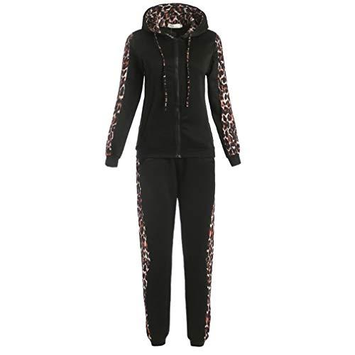 Yying Set da 2Pezzi Donna Cerniere con Cerniera Leopardate Felpa con Cappuccio Pantaloni Lunghi Tute Donna Felpe con Cappuccio Outfit