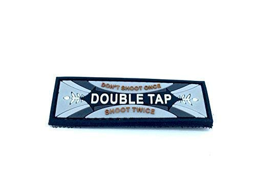Patch Nation Double Tap Gummi Grau PVC Airsoft Paintball Klettverschluss-Flecken Klett
