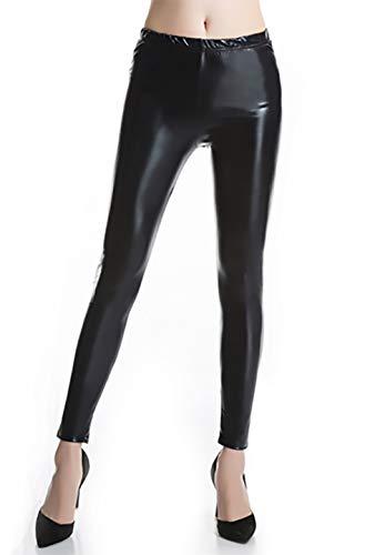 Furein Leggins para Mujer Elásticos Cómodos Acabado Colores Brillantes Metalizados Imitación Cuero con Cintura Elástica (Negro, XXL/XXXL)