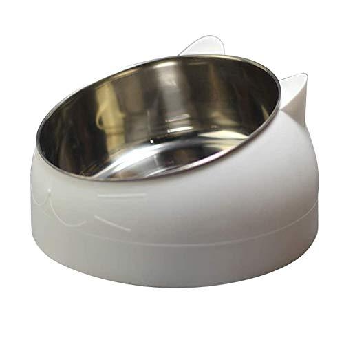 d.Stil Ciotola per Cibo Gatto Cani in Acciaio Inossidabile con Gomma Antiscivolo Base Pet Acqua Ciotola Gatto per Inclinazione di 15 Gradi(Bianco, 1L)
