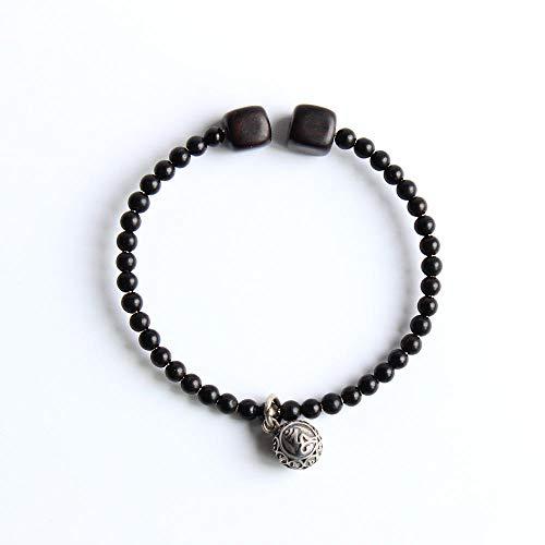 Axlgw zwarte sandaal houten kralen armband met Tibetaanse boeddhisme zilveren bedeltje kokosnoot schelp kraal Bangle Unisex handgemaakte unieke sieraden