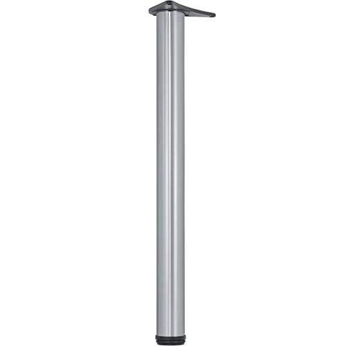 Metall Möbelfuß verstellbar Tischbein einzeln Tischfuss Edelstahl-Optik zylindrisch - H1712   Höhe 710 mm   Bein-Ø 60 mm   1 Stück - Stützfuss Arbeitsplatten & Tischplatten inkl. Befestigungsmaterial