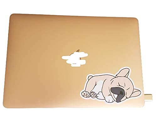 Cute Kawaii Sleeping Frenchie French Bulldog Removable Vinyl Sticker Decal 4 Pack BW 3 & 2' Laptop Sticker