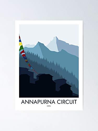 AZSTEEL Annapurna Circuit Nepal - Minimalist Travel Style Hiking Art Poster