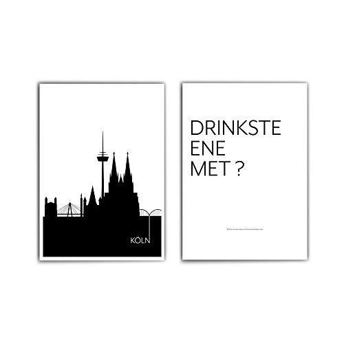 2er Köln Poster Set - in din a4 oder 30x40cm - Köln Skyline & Drinkste ene met ? - Cologne - Typographie Poster - ohne Bilderrahmen