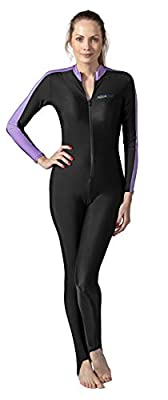Aqua Blue Sport Skin Spandex Super-Stretch Body Suit, Perfect for Surfing, Diving, Snorkeling, All Water Sports. 50+ UPF (Lavender, M)