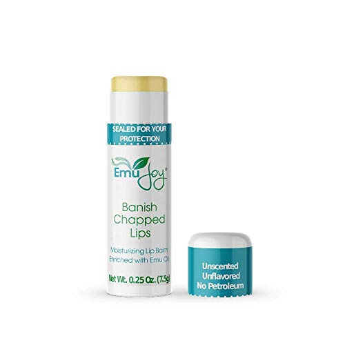 Stocking Stuffer - Banish Chapped Lips Emu Oil Lip Balm for Extremely Dry Lips - Jumbo Tube Severe Chapped Lips Treatment
