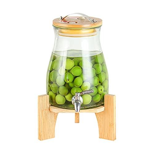 WanuigH Dispensador de Bebidas Dispensador de Bebidas de Vidrio con Soporte de cristalería para Jugo de Agua Licor de Vino de Cerveza Varias Aplicaciones (Color : Clear, Size : 27x19x13.5cm)