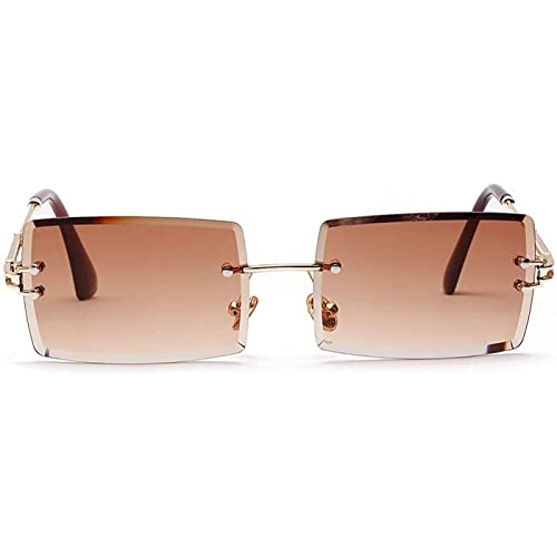 YIJIN Gafas de Sol Cuadradas con Montura Ultrapequeña para Mujeres y Hombres Rectángulo Retro Transparente