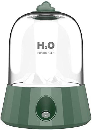 JSL Humidificador de aire USB Humidificadores de escritorio Cool Mist con luz nocturna silencioso, humidificador portátil pequeño para coche, dormitorio, oficina, color blanco y verde