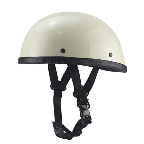 Yedina Beanie Open Motorcycle Half Helmet, DOT Certification Best Youth Men's and Women's Motorcycle Helmet White Cruiser Retro Pilot Half Helmet ChinStrap(M,L,XL),XL