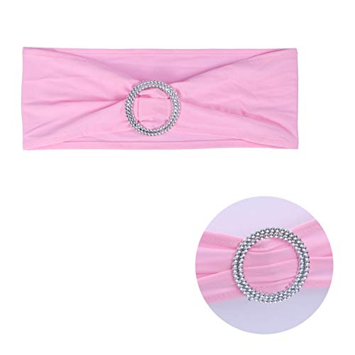 Cabilock 10Pcs Spandex Silla Fajas Banda para Silla con Hebilla de Diamante Banquete de Boda Fiesta Evento Decoración Silla Arco (Rosa)