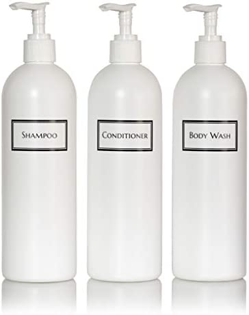 Artanis Home Silkscreened Empty Shower Bottle Set for Shampoo Conditioner and Body Wash Cosmo product image