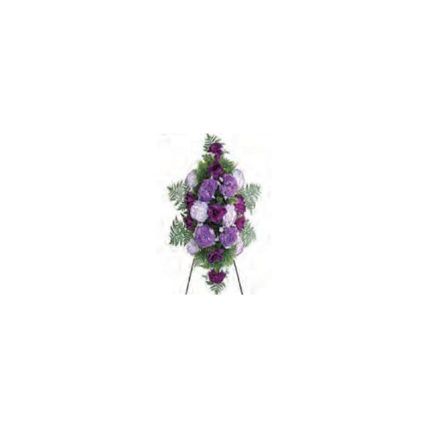 Memory Lane Memorials Deluxe Large Silk Flower Spray in Purple for Grave-site Presentation in Remembrance of Loved Ones. Easel Mounted