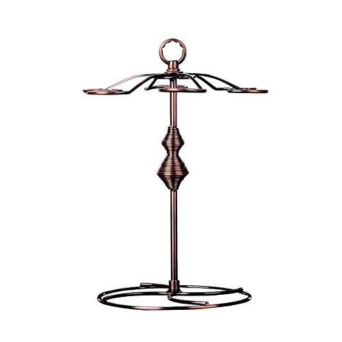 IREANJ Soporte para copas de vino de metal bronce con 6 ganchos para vidrio de vino, estante de mesa independiente, sistema de secado de aire portátil (color: bronce, tamaño: 1 tamaño) Wi
