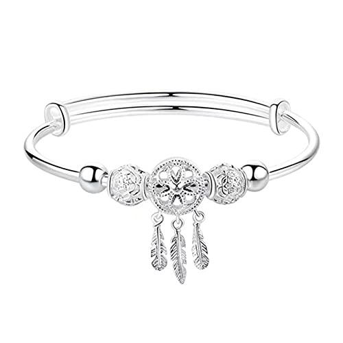 Jiaojie Pulsera de cadena elegante y atractiva pulsera de plata para mujeres y adolescentes