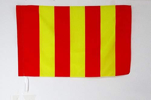 AZ FLAG Flagge Motorsport GELBE MIT VERTIKALEN ROTEN Streifen 90x60cm - Formel 1 Fahne 60 x 90 cm Scheide für Mast - flaggen Top Qualität