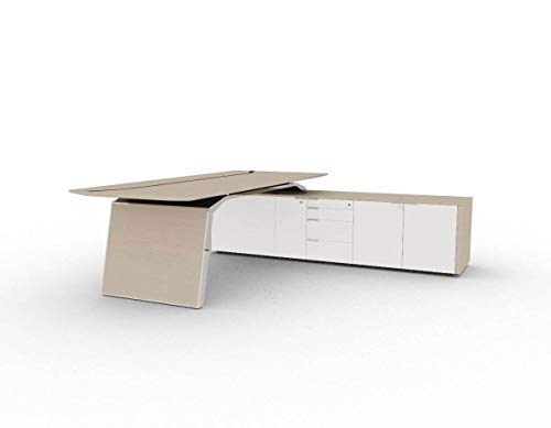 Bralco Schreibtisch mit Sideboard Metar, komplett, Design Büromöbel, Chefschreibtisch, Chefbüro, italienische Designermöbel