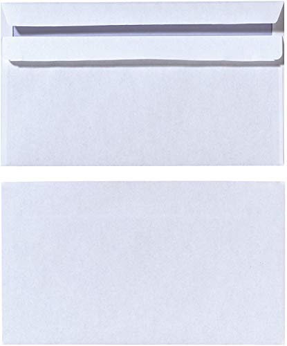 Herlitz Briefumschlag DIN Lang Selbstklebend, 100 Stück mit Innendruck in Folienpackung, eingeschweißt, weiß