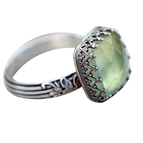 Anillo vintage, para mujer, rectangular, piedras preciosas de imitación esmeralda, con incrustaciones de piedra lunar verde, con diamantes de princesa, regalo para regalo