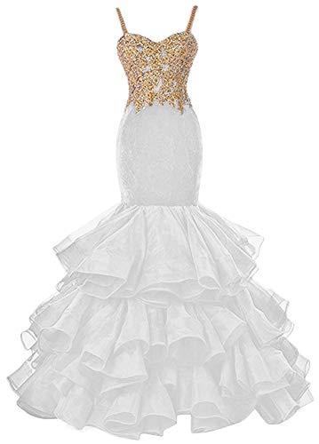 HUINI Vestidos de Noche Vestidos de Boda de Princesa Sirena Mujer Vestido de Novia Ropa de Novia Organza Vestidos de Fiesta Largo Blanco 46