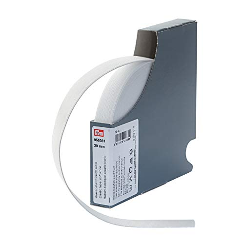 Prym 955361 Elastic-Band weich 20 mm weiß, 57% PES 43% ED