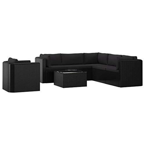 Festnight 7-delige Loungeset met kussens poly rattan Eettafel Tafel en stoelen Keuken Stoffen zitting Eetstoelen Moderne stijl Tuinset Meubels zwart