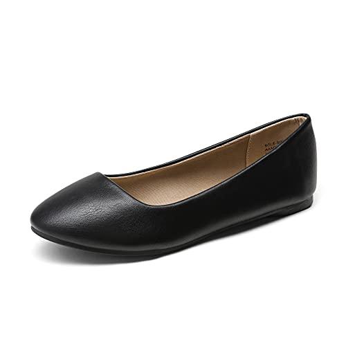 DREAM PAIRS Women's Sole-Simple Black Pu Ballerina Walking Flats Shoes - 8 M US