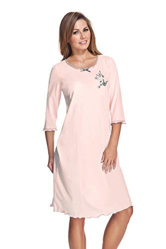 e.FEMME® Damen Nachthemd 275 mit 3/4 Ärmeln aus Baumwolle und Modal, Lachs, Gr.48