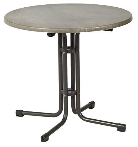 acamp Esstisch Gartentisch Bistrotisch Piazza 80 cm rund anthrazites Gestell mit Cemento Topalit Tischplatte