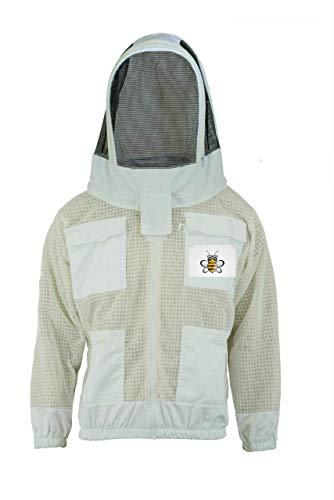 Bee Jacket Bee 3 Layer Sicherheit Unisex Weiß Stoff Mesh Imkerei Jacke Imkerei Fechten Schleier Schutzkleidung Imkerei Kleidung Imkerei Schutzkleidung Belüftete Biene-XL