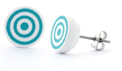 DonDon - Pendientes redondos de acero inoxidable (diámetro de 10 mm), diseño de círculos, color blanco y turquesa