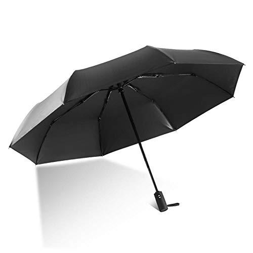 xmwm Paraguas automático liso de vinilo UV parasol plegable unisex de negocios tres huesos plegables 58,5 cm x 8, negro, radio 54-61 cm