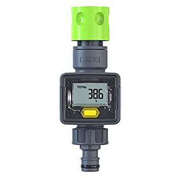 RAINPOINT Water Meter Digital Water Flow Meter with Quick Connectors Measure Water Consumption and Flow Rate in Gallons Liters Ideal for RV Hose Garden Sprinkler Hose Nozzle