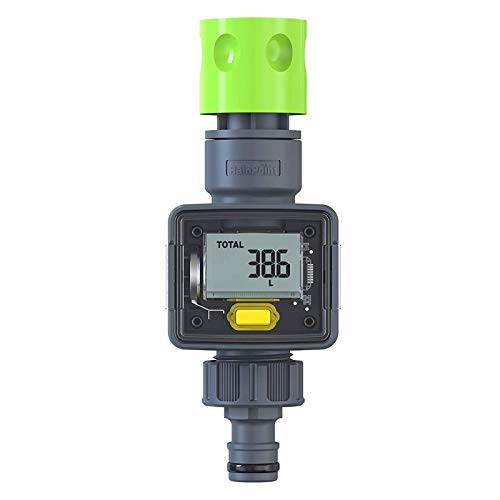 RAINPOINT Water Meter, Digital Water Flow Meter, LCD Hose Water Meter with Quick Connector, 4 Modes Measure Gallons Liters Usage and Flow Rate, Ideal for RV Tank, Garden Hose