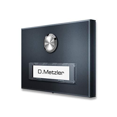 Metzler Aufputz Türklingel aus Edelstahl mit austauschbarem Namensschild (Anthrazit)