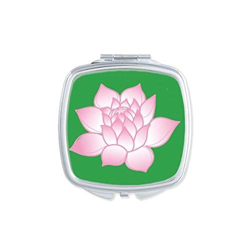 DIYthinker Fleur Plante Fleur de Lotus Rose Motif carré Miroir de Maquillage Compact Portable Mignon Miroirs de Poche à la Main Cadeau Multicolore