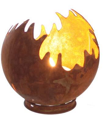 Edelrost Windlicht Feuerkugel Feuerball D11 Rost Metall