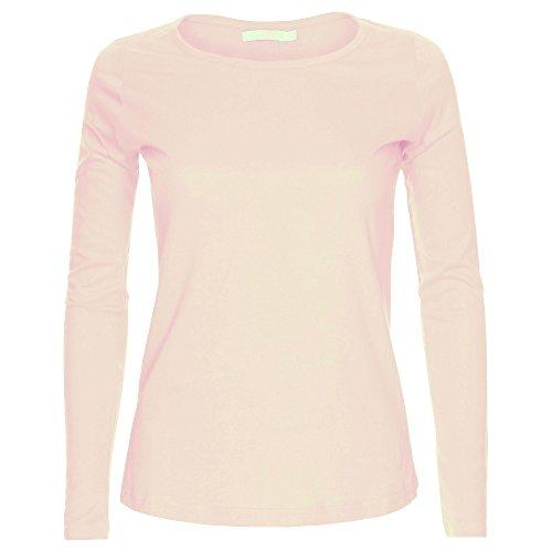 Camiseta de manga larga para mujer, cuello redondo, diseño liso. Tallas S-XL Rosa color carne XL Para encaja 44-46
