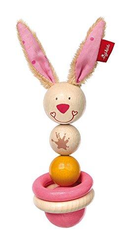sigikid, Fille, Hochet Lapin Anneau de Dentition, Bungee Bunny, Rose, 75069