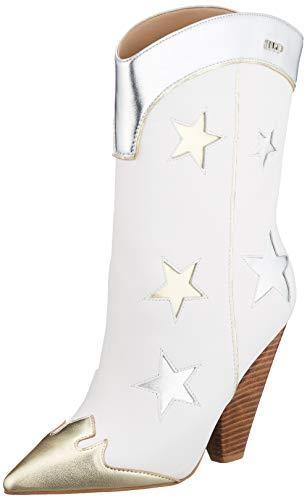 Liu Jo Shoes Damen GUENDA 21-Bootie Nappa Cowboystiefel, Weiß (White 01111), 40 EU