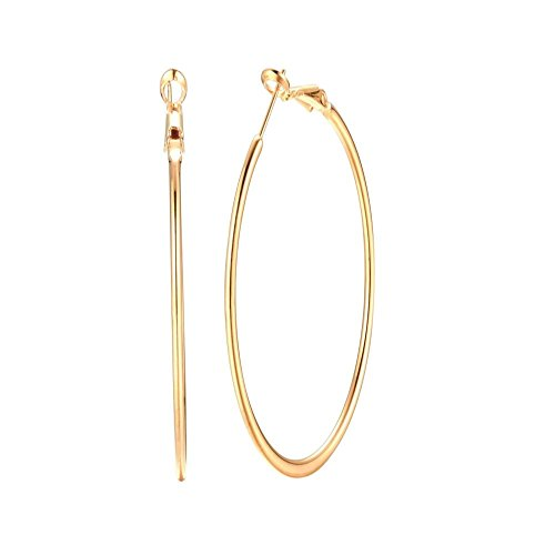 Dainty 70mm 14K Yellow Gold Silver Big Large Hoop Earrings For Women Girls Sensitive Ears Fashion Round Circle Huggie Hypoallergenic Hoops 3 Inch Minimalist Hooped Gifts Bff Birthday (Yellow Gold)