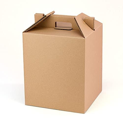 Pack 4 cajas con asas para botellas y lotes de navidad Color Marrón| Estuche cesta capacidad 9 botellas o regalos | Muy resistente a golpes | cartón reciclado 100% ecológico