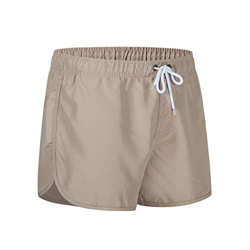 MOTOCO Herren Shorts Badehose schnell trocken Strand Surfen Laufen Schwimmen elastische Taille gespleißt Watershort Hose(M,Khaki)